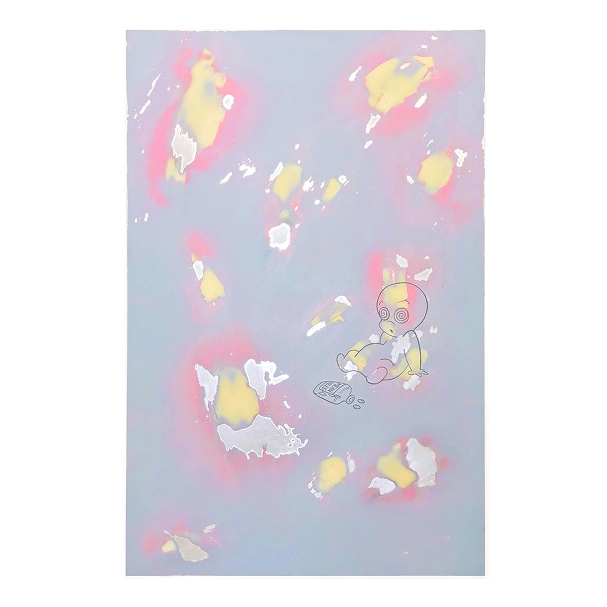 kieran.leach Mean Pills (2020) Spray paint, acrylic and two part filler on aluminium 101 x 66cm