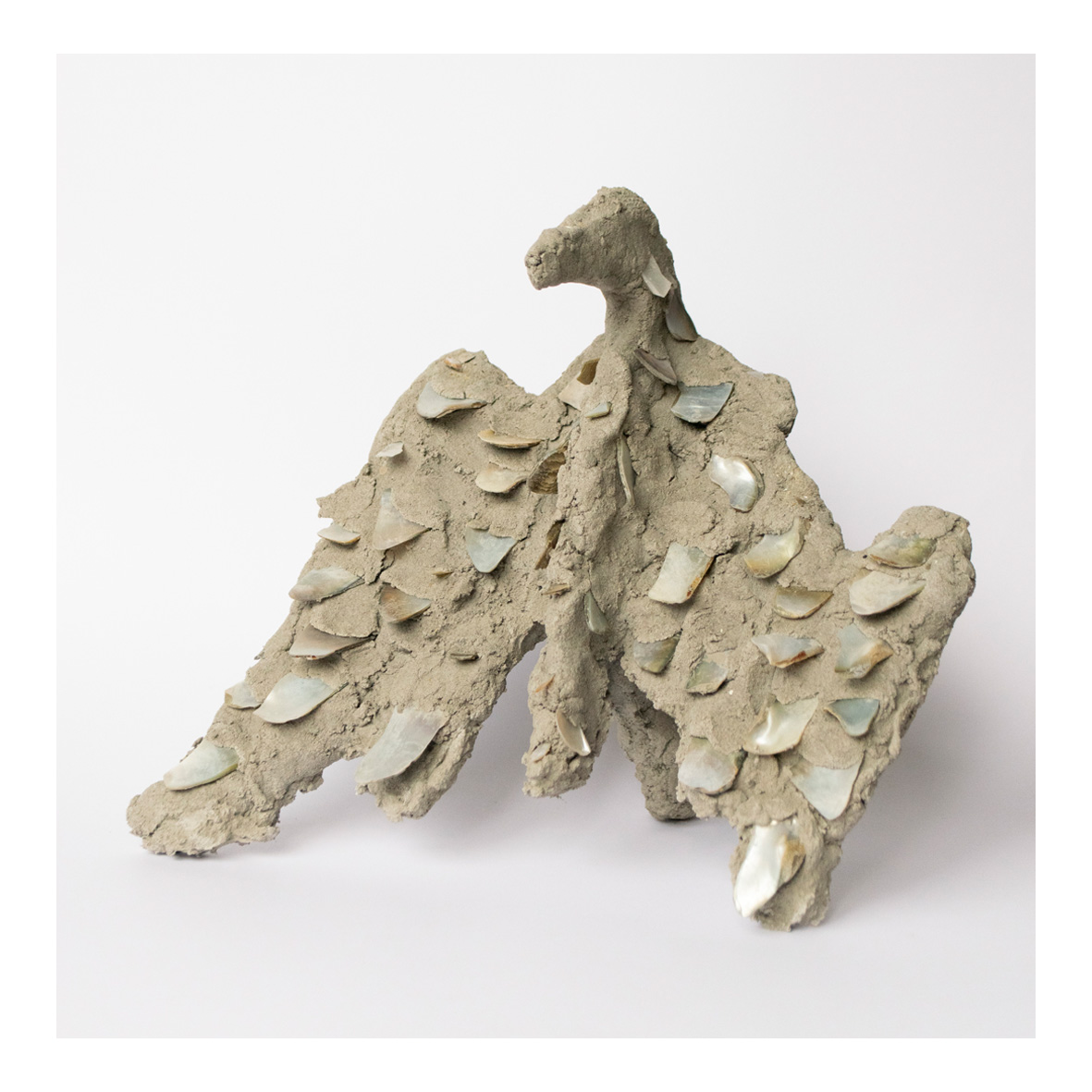 @annareading Augury (2020) Cement, oyster shell, tile-backing board (armature) 21 x 25 x 13cm