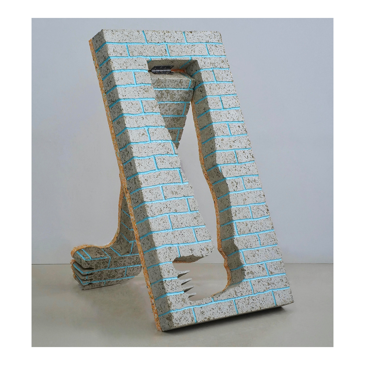 ally rosenberg artist Some Compliments Aren't Worth Accepting, (2020) Papercrete, reconstituted foam, silicone, earth pigments, steel hinge 120 x 60 x 70cm