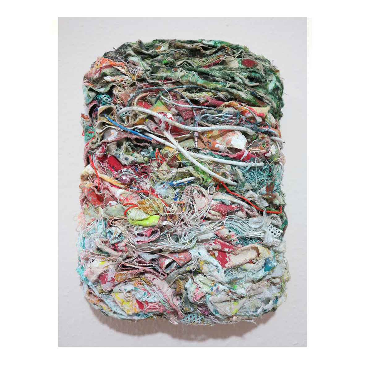 Christopher Stead JUNGLE (2020) Alkyd resin, acrylic, cotton, polyester, polyethylene & electrical wire.  40 x 30 x 7cm.