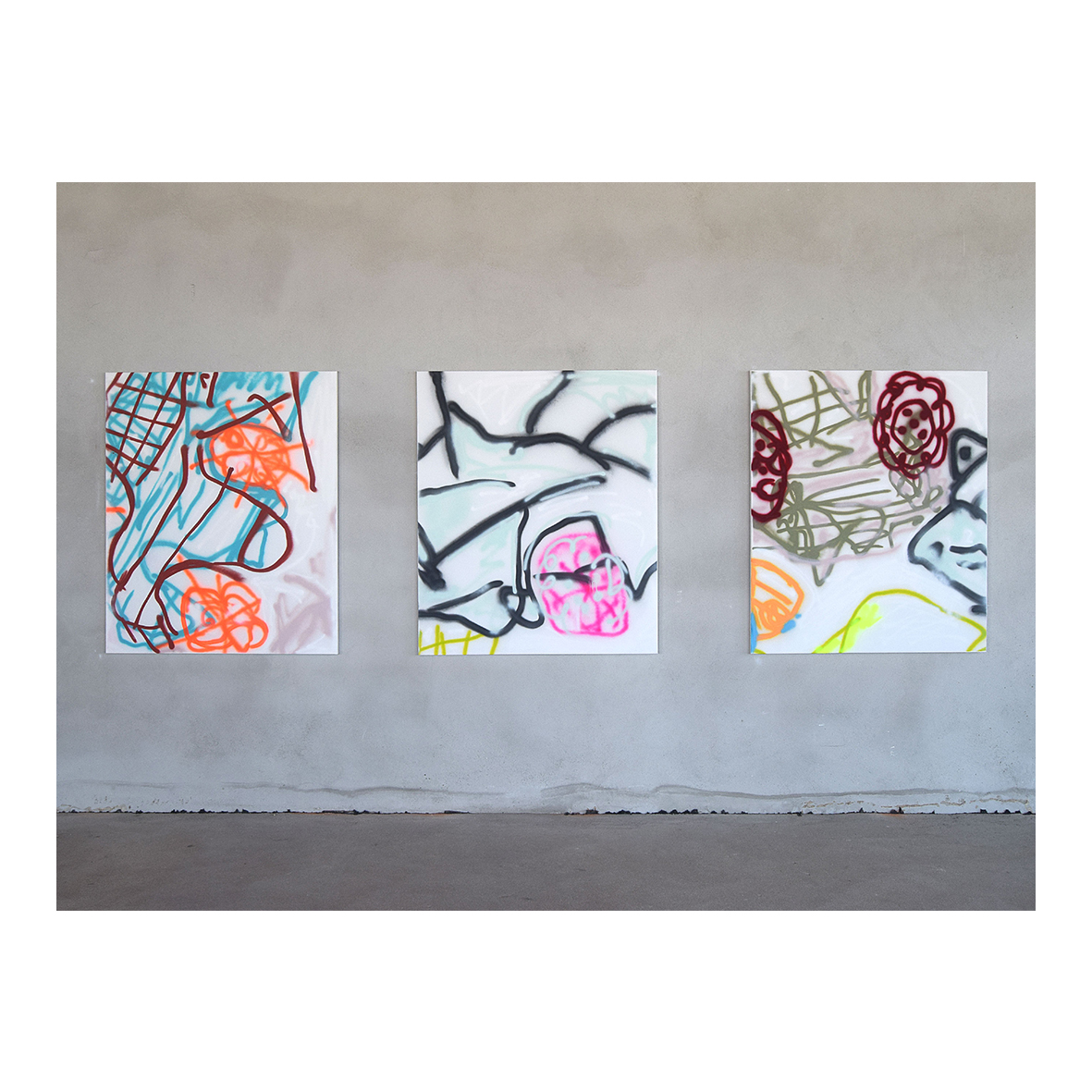 Thomas langley Arena Essex (2020) Spray paint on canvas 1, 2 and 3 of 7 135 x 115cm