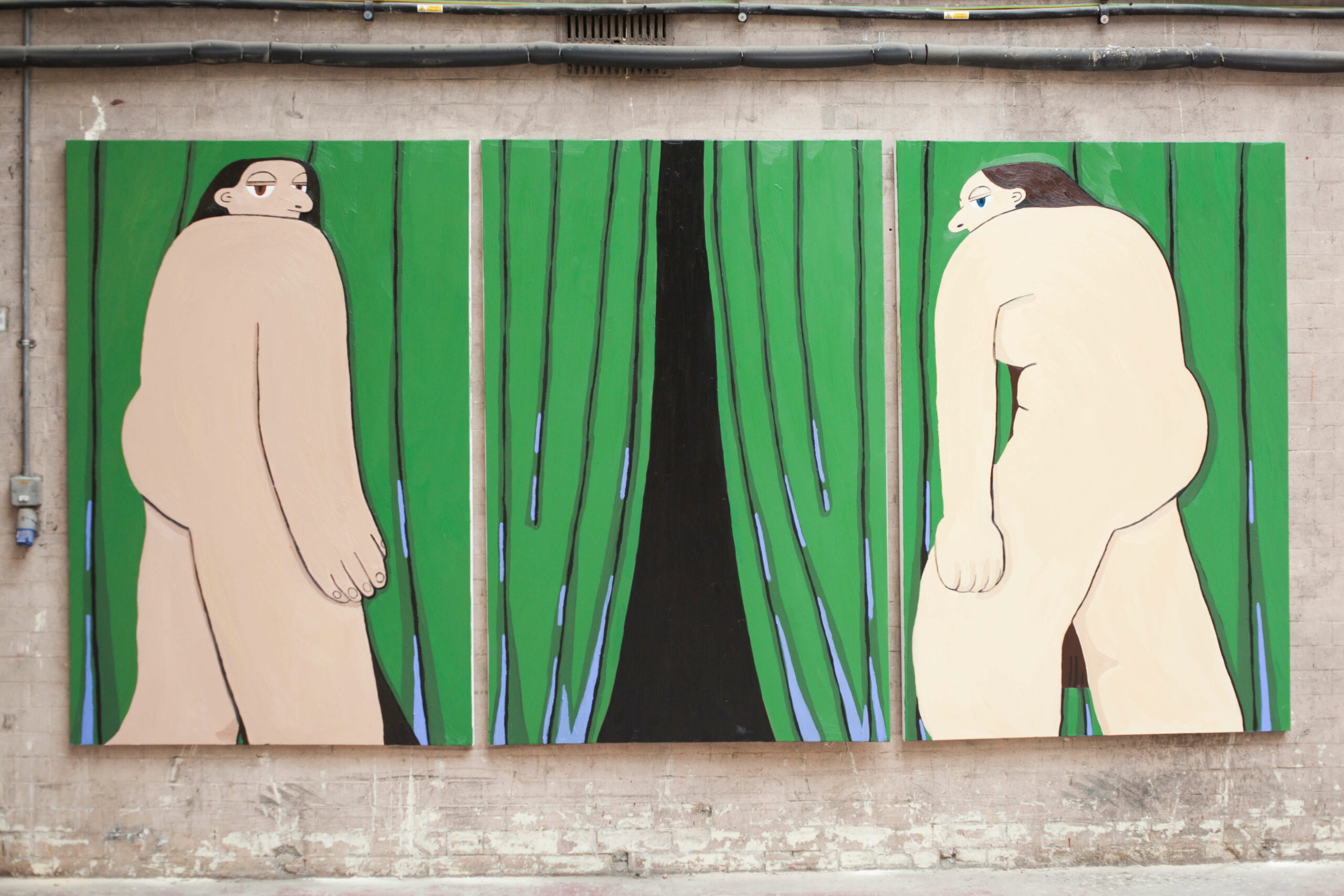 Hanna Wilson. Green Curtain. Exhibited at Five Hides, Curated by Thorp Stavri